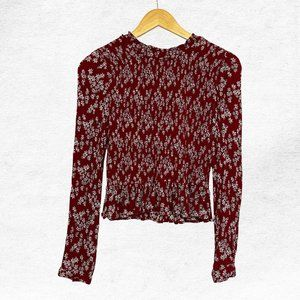 Patrons of Peace Red Floral Smocked Blouse
